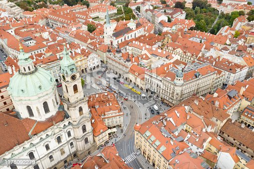 Aerial of the famous St. Nicholas Church, Prague, Czech Republic. Converted from RAW.