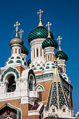 The 19th Century Russian Orthodox Cathedral of St Nicholas, in Nice, France.