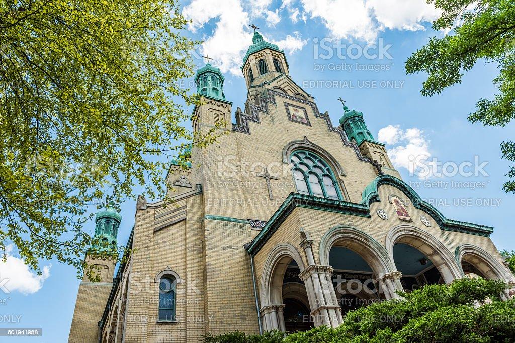 St. Nicholas Ukrainian Catholic Cathedral in village stock photo