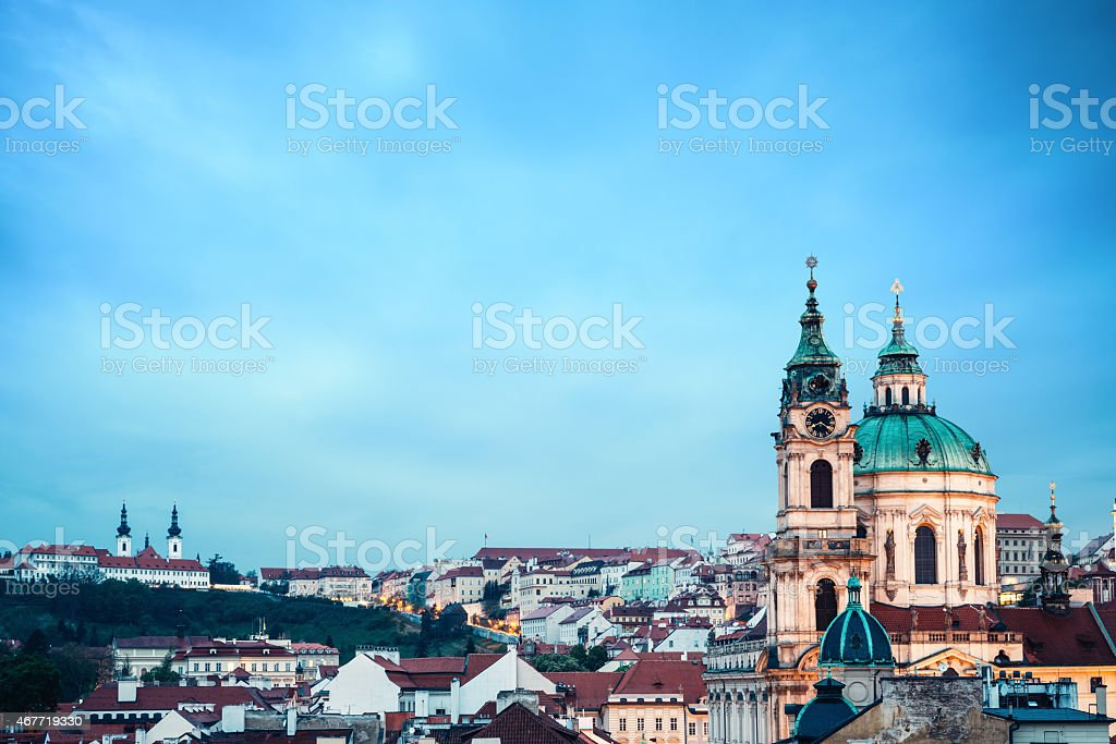 St Nicholas's Church In Prague At Evening stock photo