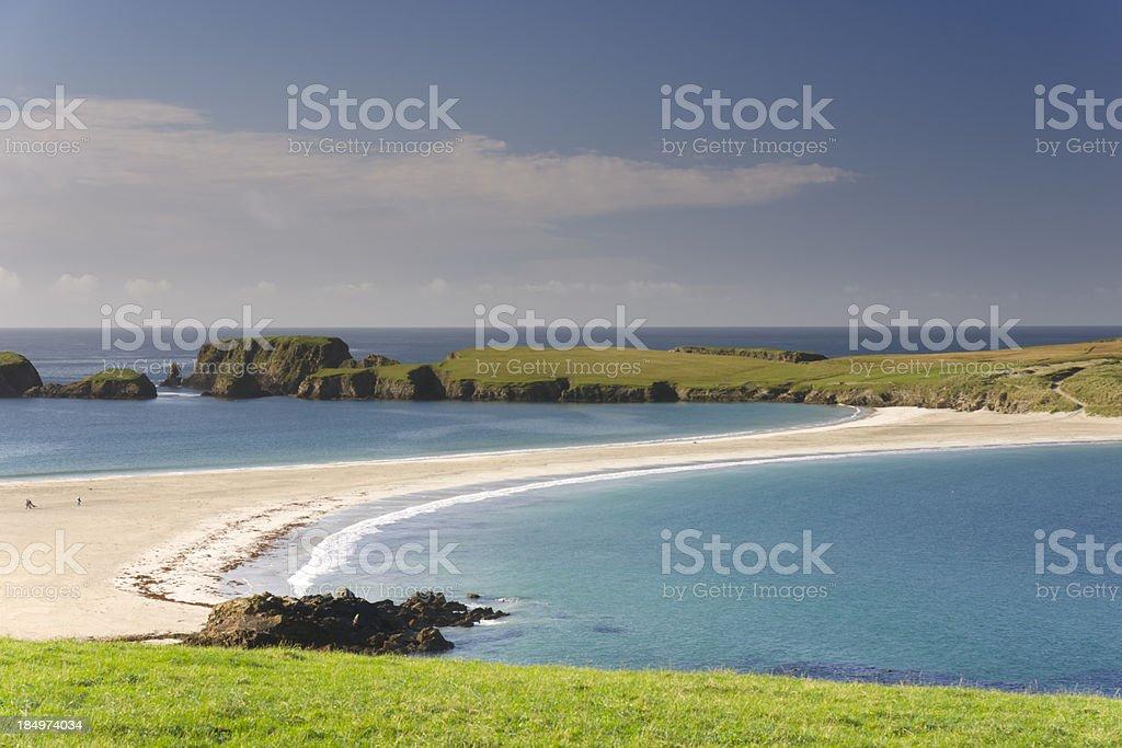 St Ninian's island a tombolo on Shetland stock photo