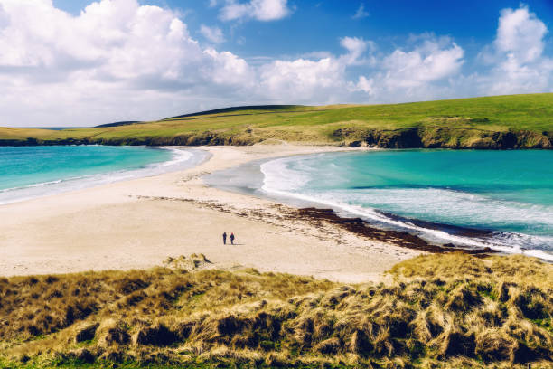 St Ninian's Isle tombolo, Shetland Islands, Scotland stock photo