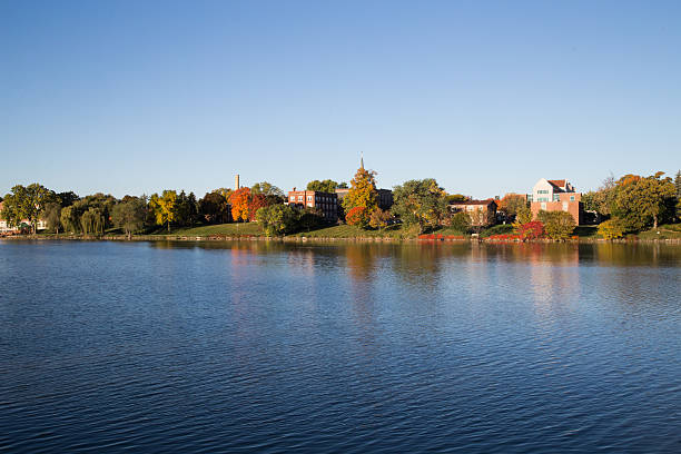 st norbert depere fall colors - green bay wisconsin stock photos and pictures