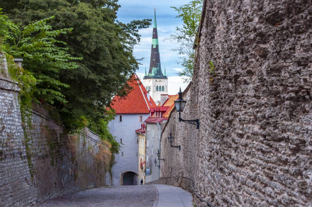 st olaf'ın kilisede tallinn eski şehir, estonya (oleviste kırık) - estonya stok fotoğraflar ve resimler
