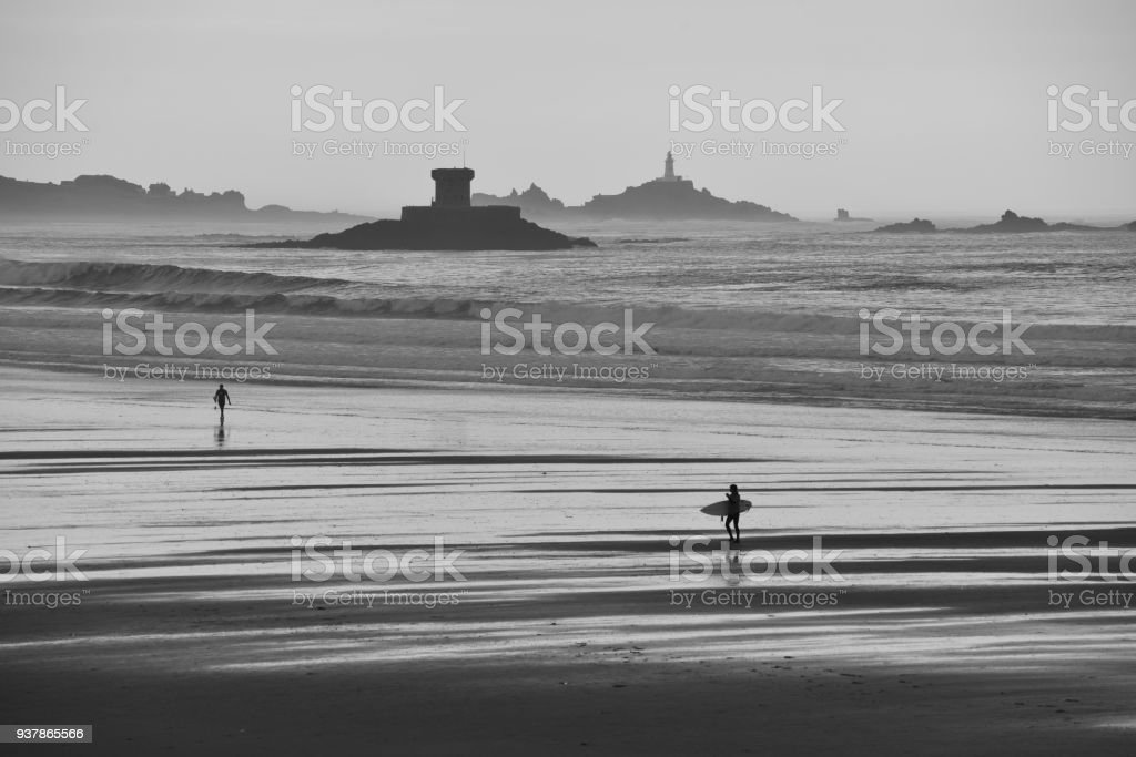 St Ouens Bay and Corbiere lighthouse, Jersey, U.K. stock photo
