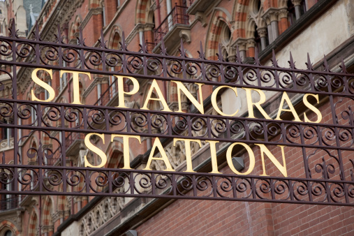 St Pancras International Railway Station Sign Stock Photo - Download Image Now