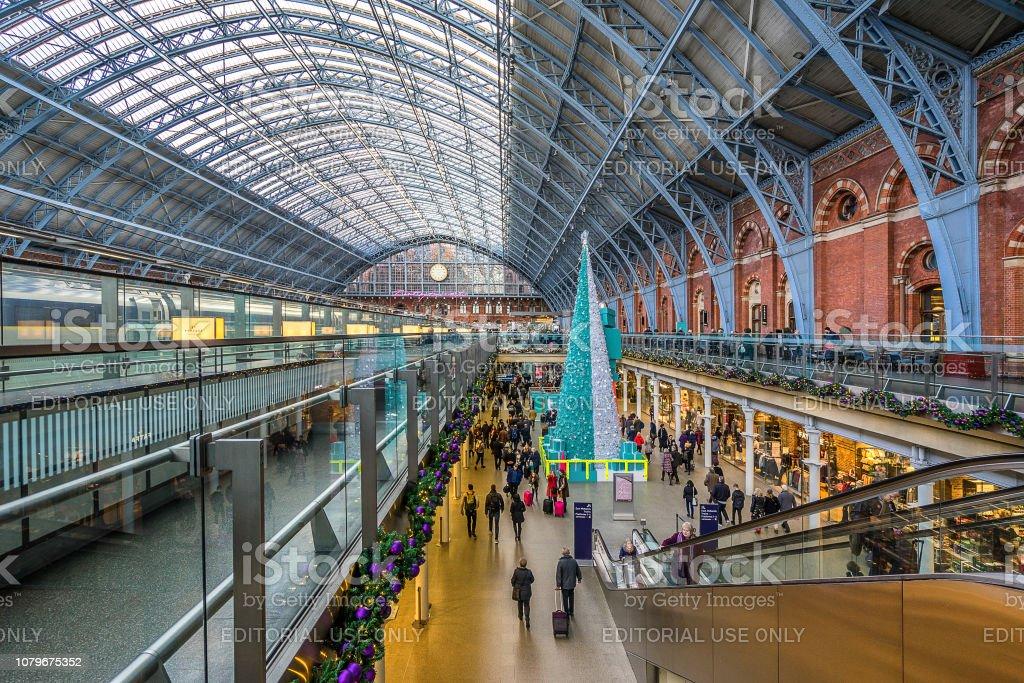St Pancras International Station in London stock photo
