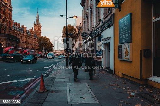 172864410istockphoto St Pancras Railway Station, Euston Road, Traffic, Commuters 869940230