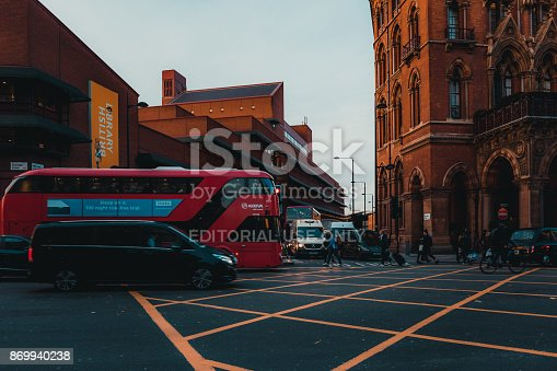 172864410istockphoto St Pancras Railway Station, Euston Road, Traffic, Commuters 869940238