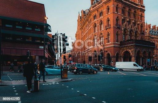 172864410istockphoto St Pancras Railway Station, Euston Road, Traffic, Commuters 869940250