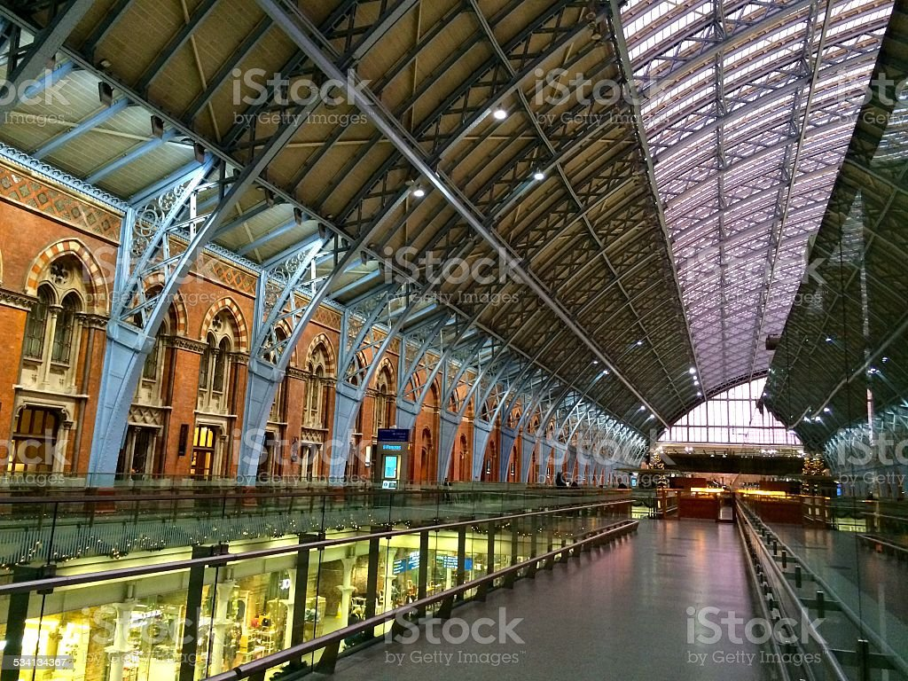 St. Pancras Station Platform Roof at Sunset 2 stock photo