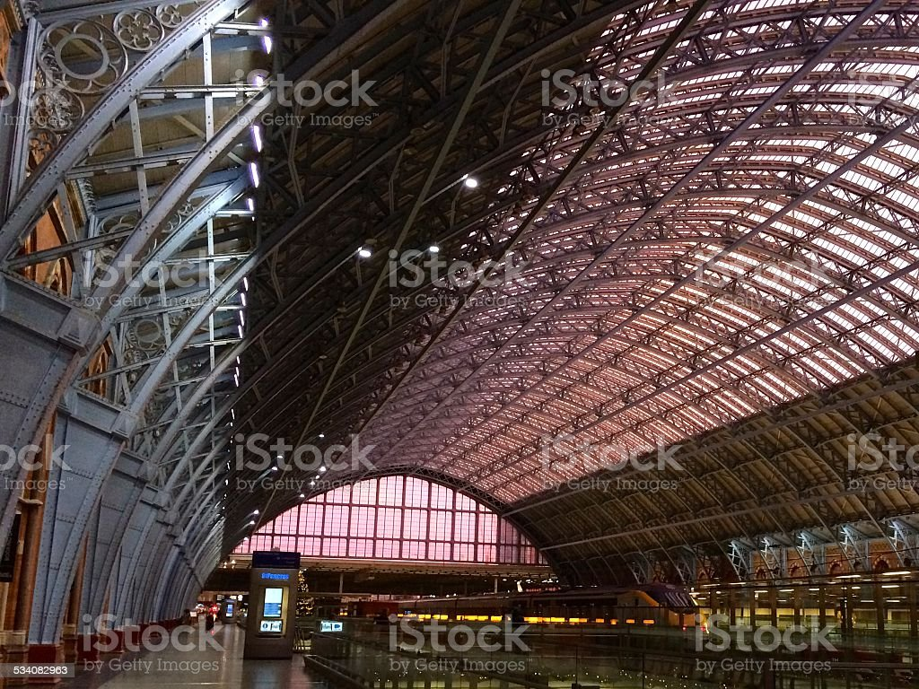 St. Pancras Station Platform Roof at Sunset stock photo