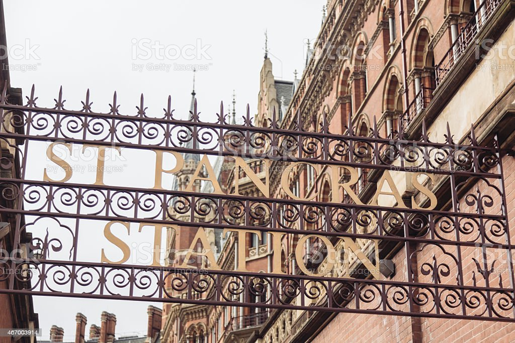 St Pancras station sign with building on background in London stock photo