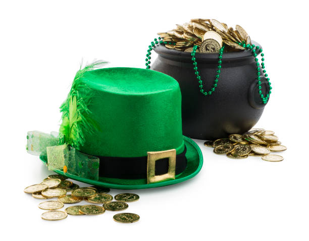 St Patrck's Day Party Decorations on White Background stock photo