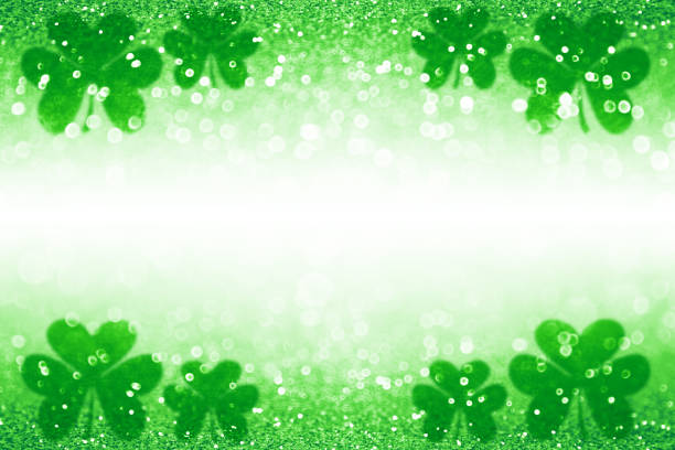 st patrick day shamrock irish lucky green background backdrop - st patricks day stock photos and pictures