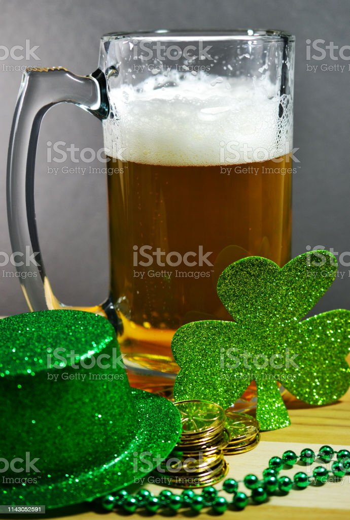 St. Patrick\'s day beer mug with decorations