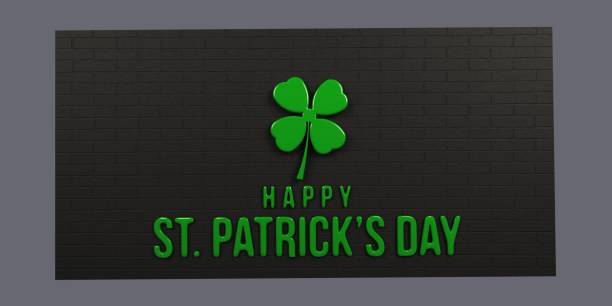 st patricks day black brick wall. 3d render illustration - happy st. patricks day stock photos and pictures