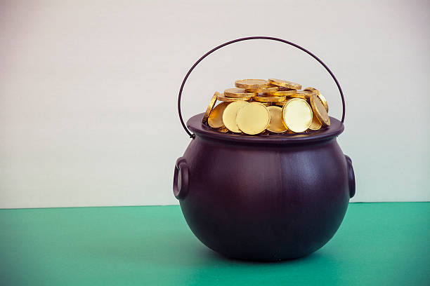 St patricks day caldron with gold stock photo