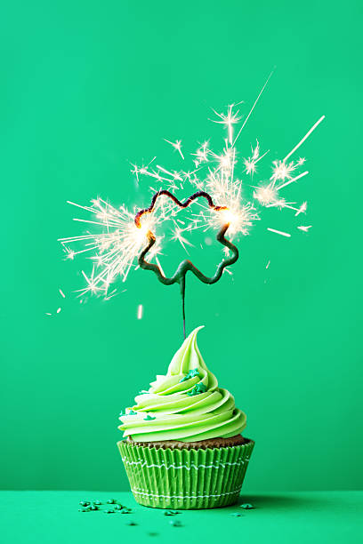 st patrick's day cupcake - st patricks day food stock photos and pictures