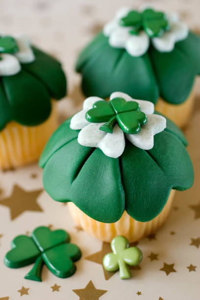 st. patrick's day cupcakes 6 - st patricks day food stock photos and pictures