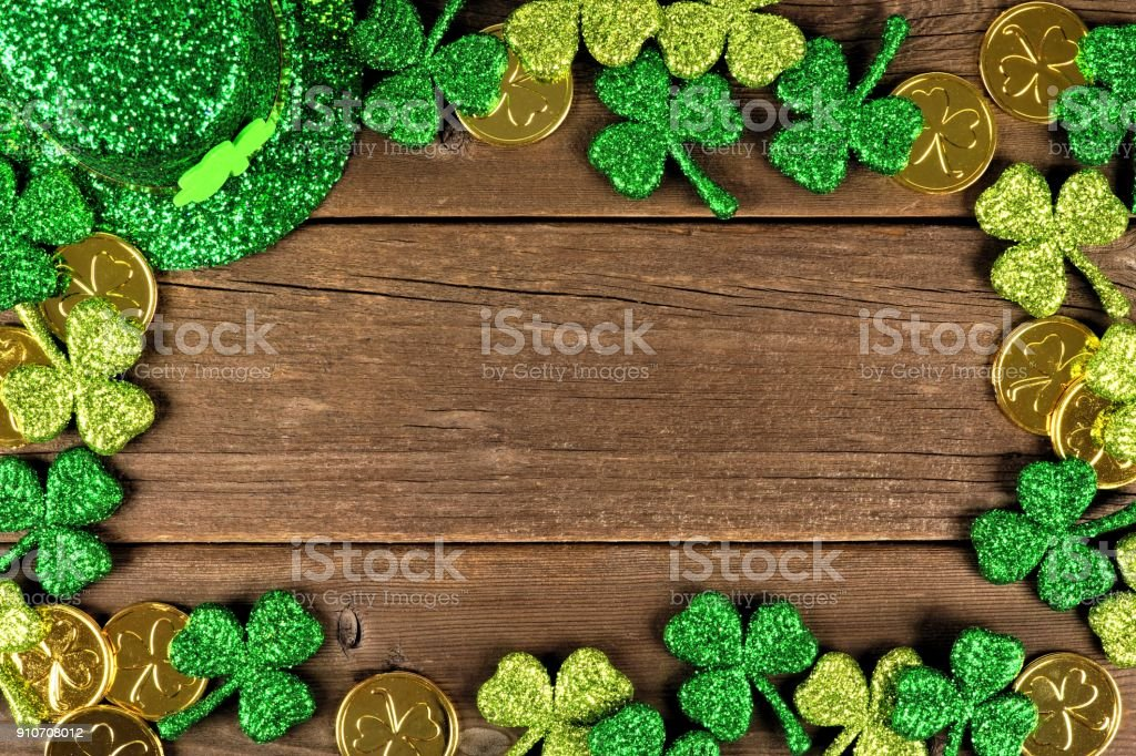 St Patricks Day decor frame over rustic wood stock photo