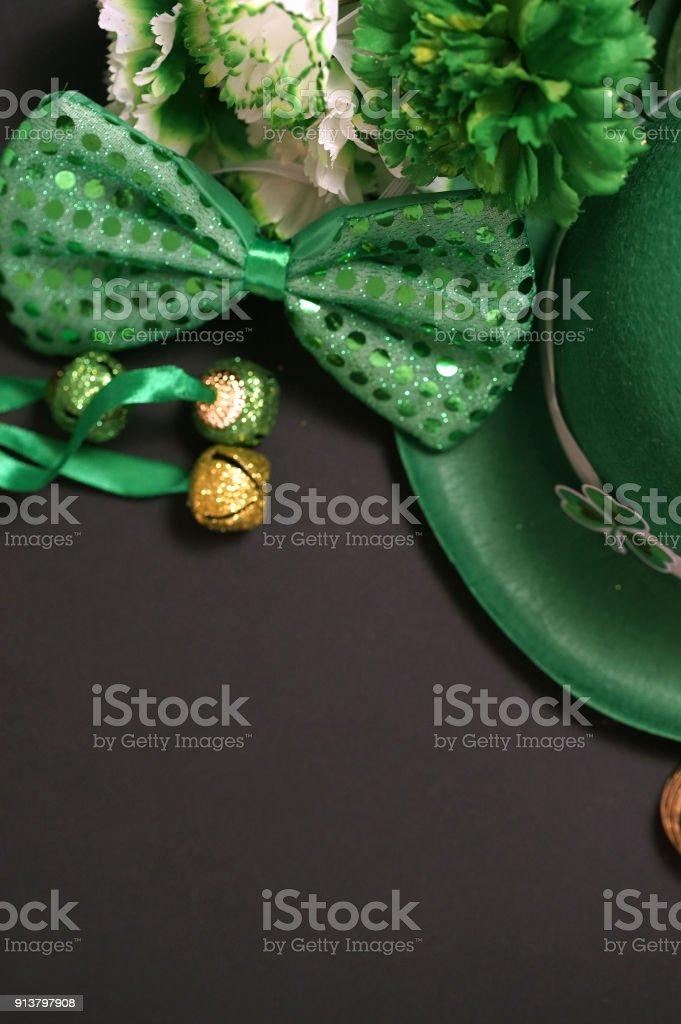 St. Patrick's Day decoration on black background stock photo