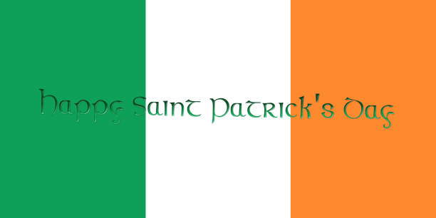 st. patrick's day. flag of ireland with clover leaves 3d illustration - happy st. patricks day stock photos and pictures