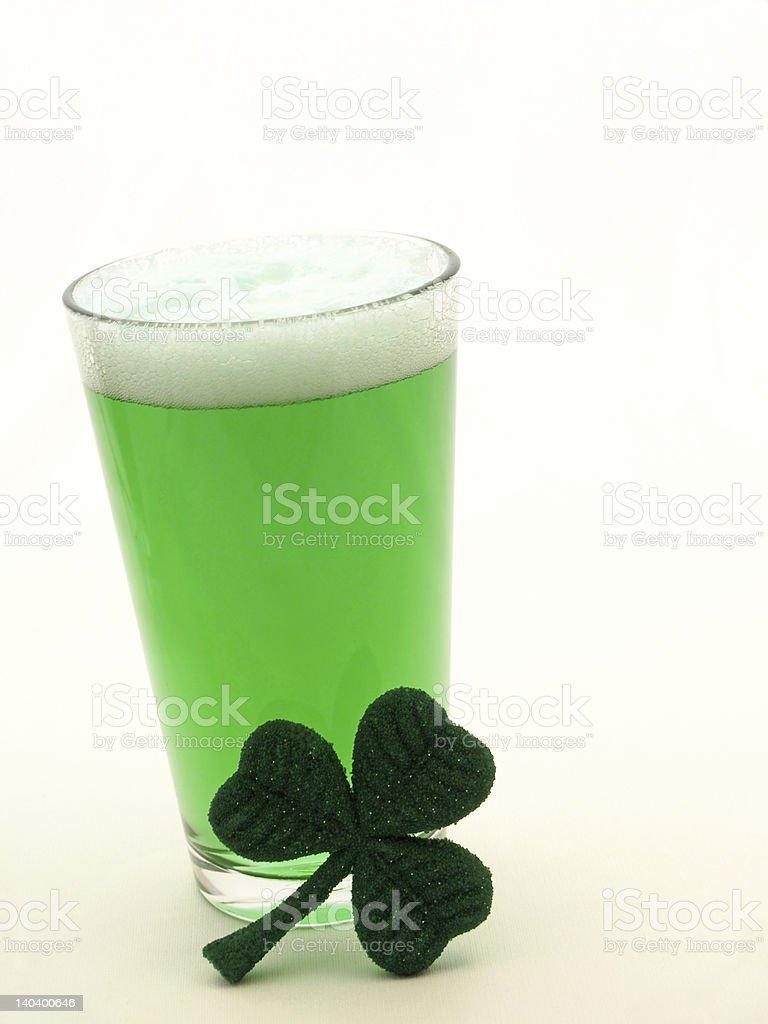 St Patricks Day green beer and shamrock royalty-free stock photo