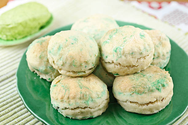 st patrick's day green biscuits (scones) - st patricks day food stock photos and pictures