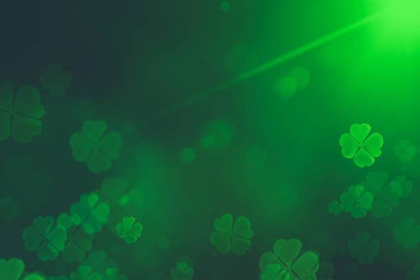 st. patrick günü yeşil shamrock arka plan yaprakları. büyüyen clover yaprak aşırı yakın-up ile patrick günü zemin. patrick day pub parti arka plan - aziz patrik günü stok fotoğraflar ve resimler
