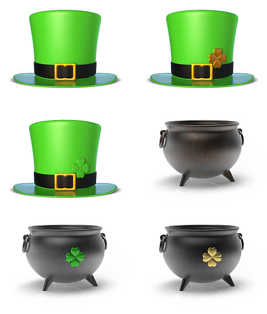 St. Patrick's Day Hat and Cauldron Set stock photo