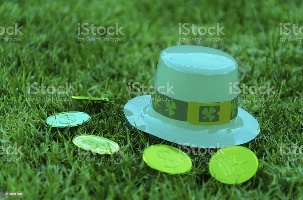 St Patrick's Day hat and coins on grass royalty-free stock photo