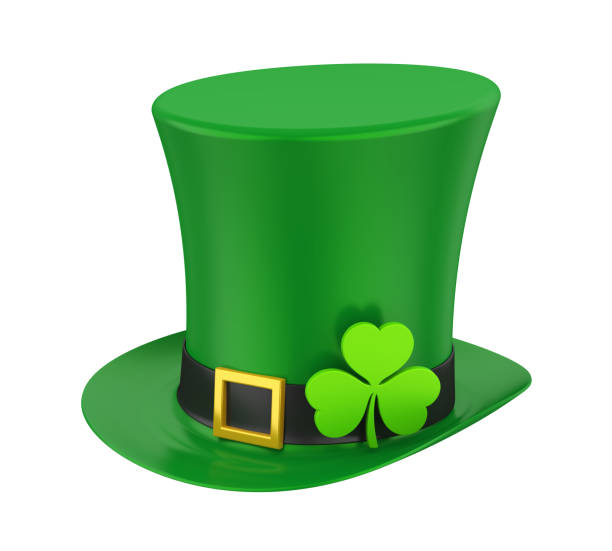 st. patrick's day hat with clover isolated - st patricks days stock photos and pictures