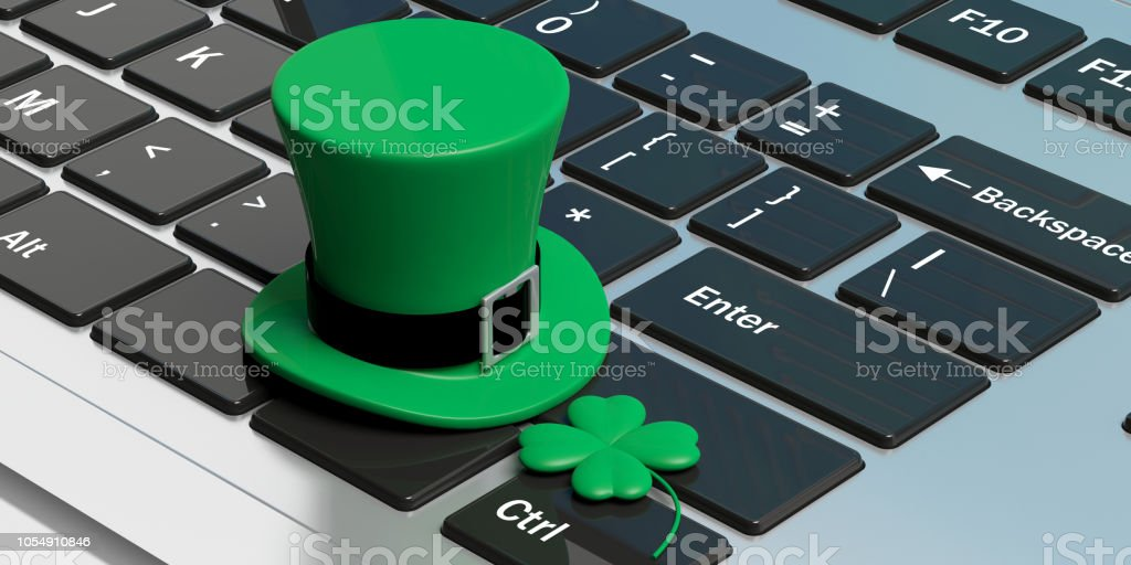 St Patricks Day hat with four leaf clover on computer keyboard. 3d illustration stock photo