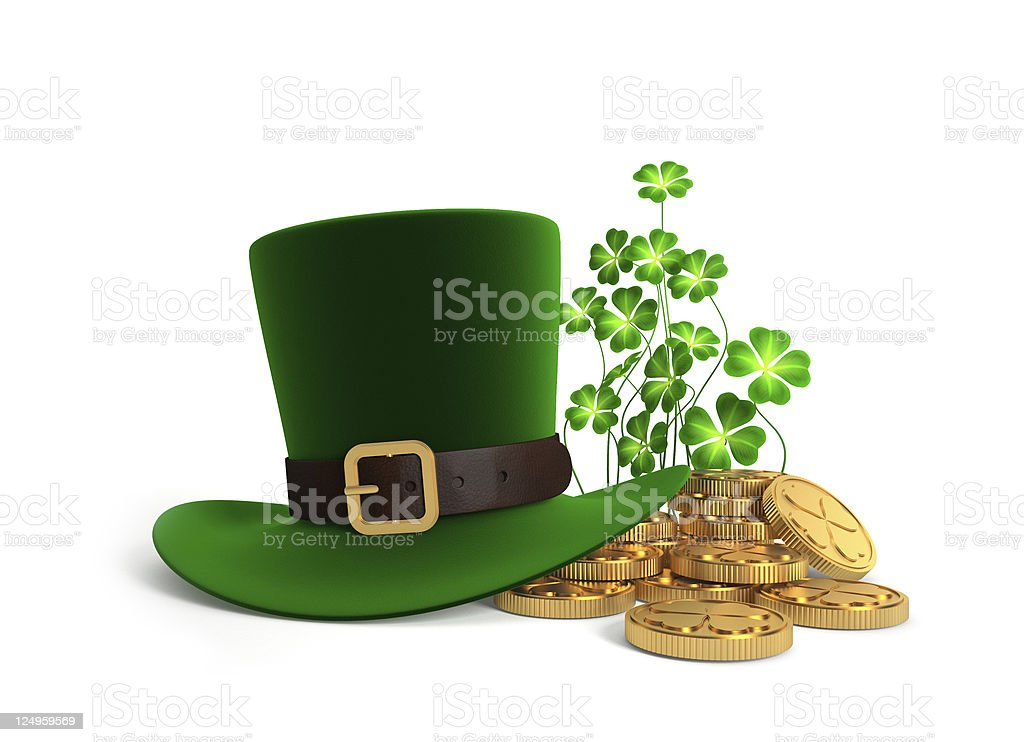 St Patrick's Day icons featuring a hat, coins, and shamrock stock photo