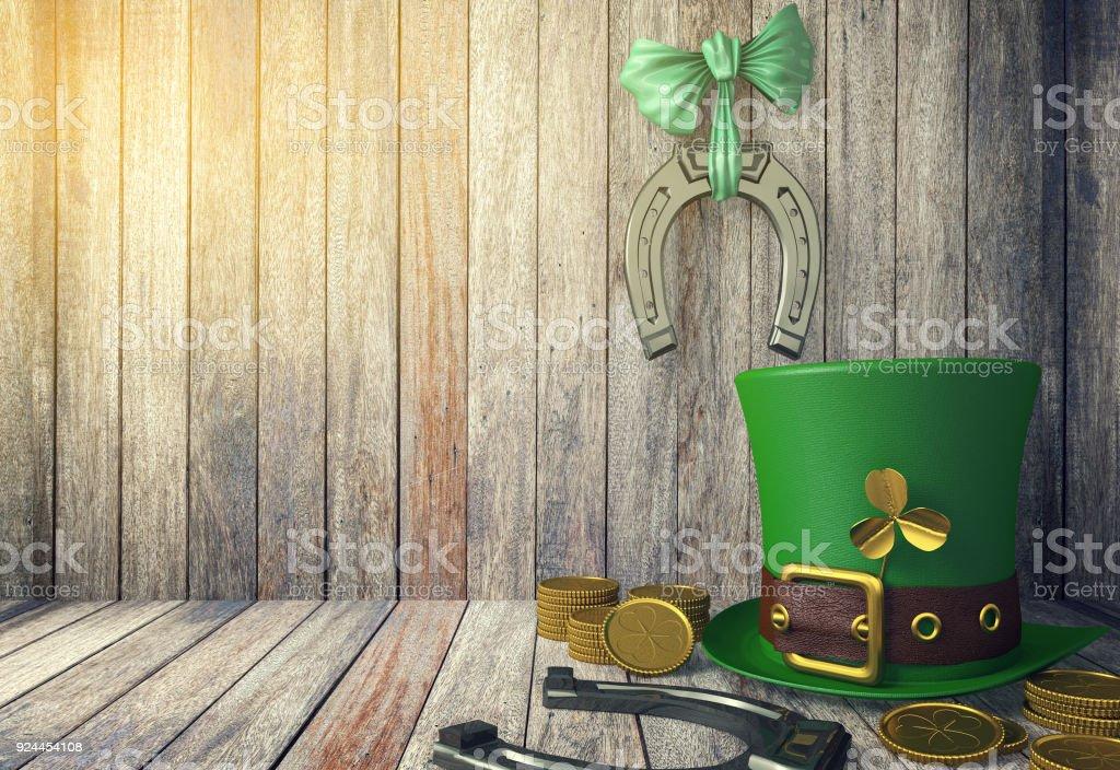 St. Patricks Day Kobold Hut mit Goldmünzen und Hufeisen – Foto