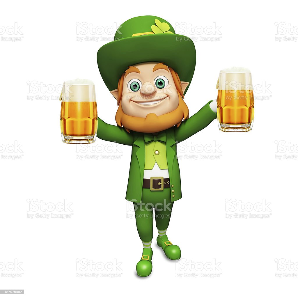 st patricks day leprechaun with beer glass stock photo 187975962
