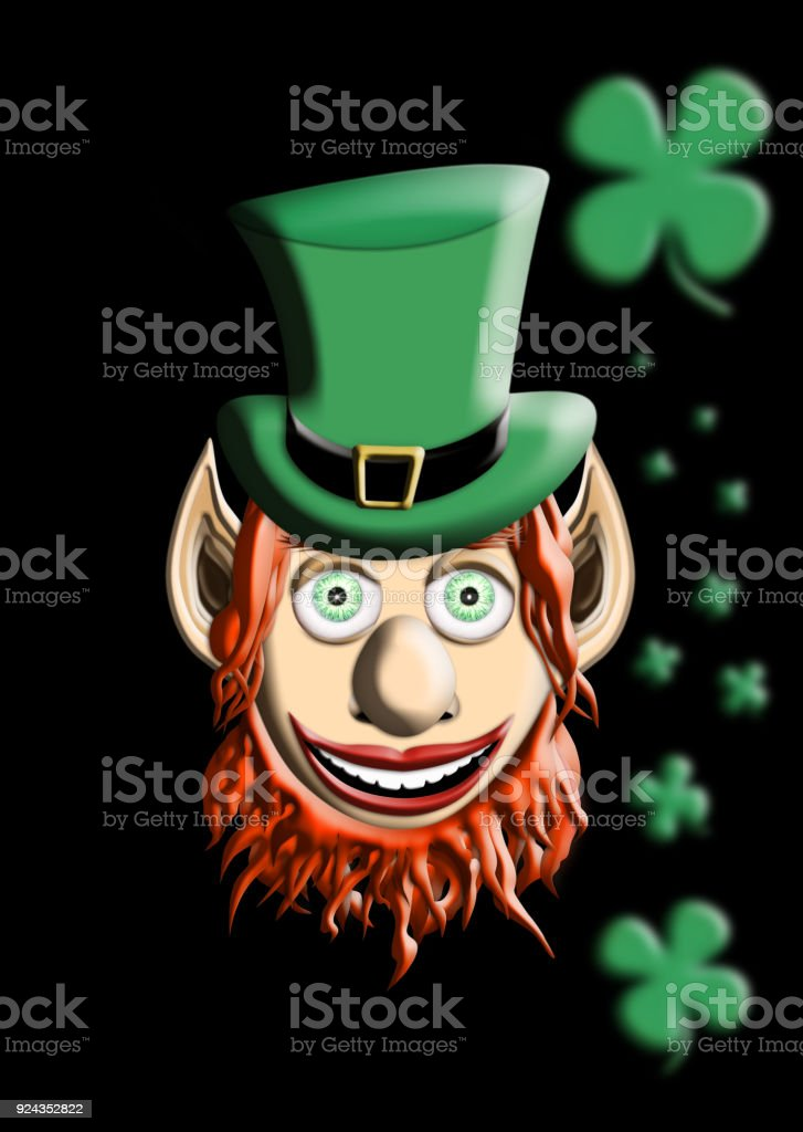St Patrick's Day. Leprechaun With Green Hat and Four Leaf Clover Isolated On Black  Background 3D illustration stock photo