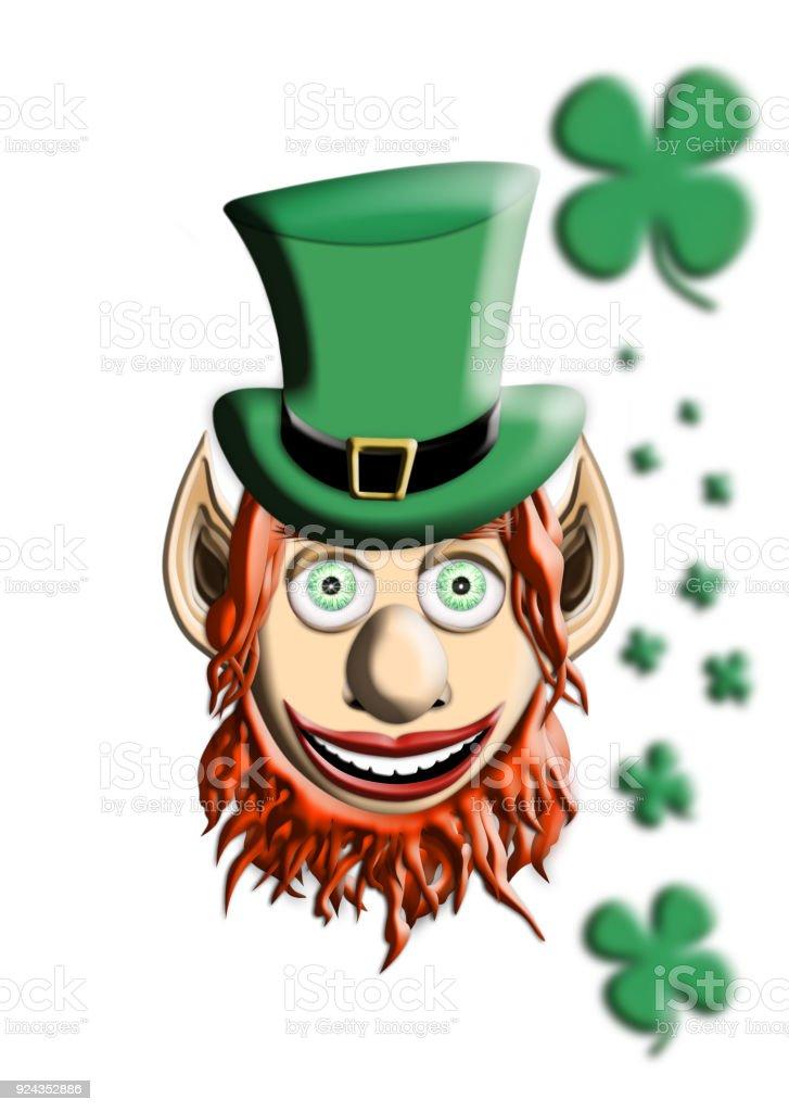 Día de San Patricio. Duende con sombrero verde y cuatro hoja trébol aislado  sobre fondo 08cb3387176
