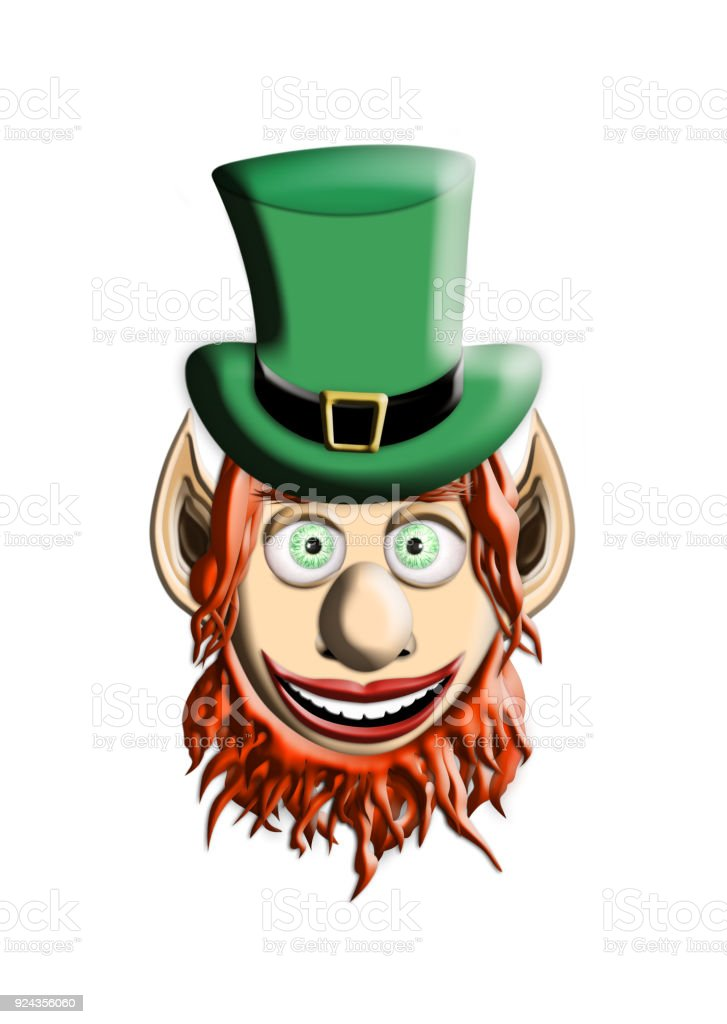 St Patrick's Day. Leprechaun With Green Hat Isolated On White Background 3D illustration stock photo