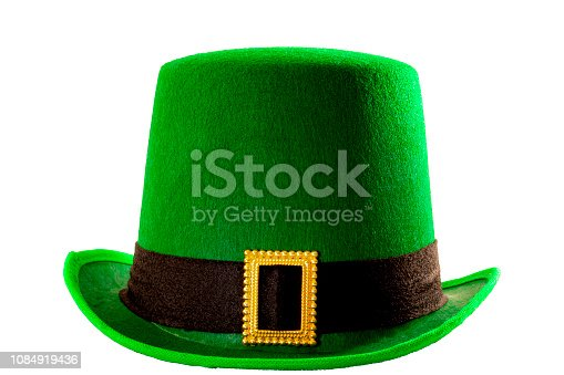St Patricks day meme and March 17 concept with front view of a green parade hat with a belt and buckle isolated on white background with a clipping path cut out