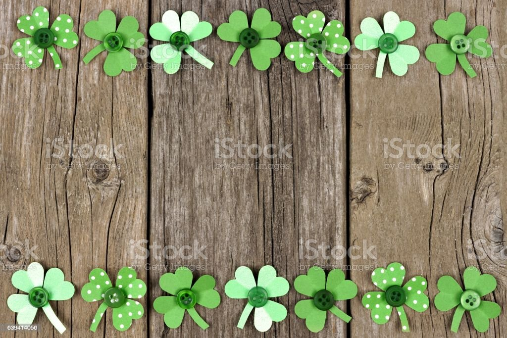 St Patricks Day Paper Shamrock Double Border Over Rustic Wood Royalty Free Stock Photo