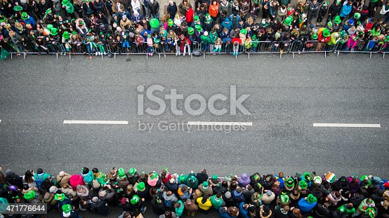 Crowds awaiting the beginning of the St. Patrick's Day Parade, Dublin city centre, Ireland.