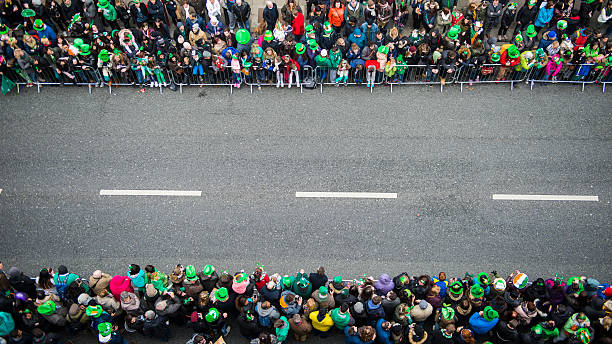 st. patrick's day parade - st patricks day stock photos and pictures