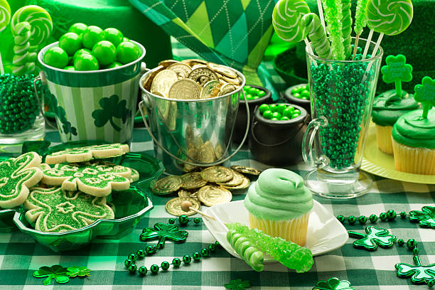 st. patrick's day party cupcake - st patricks day food stock photos and pictures