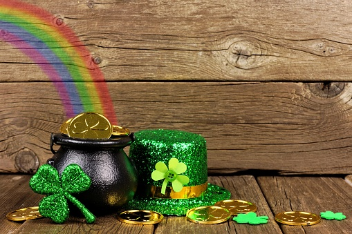 St Patricks Day Pot Of Gold With Rainbow Decor Against ...