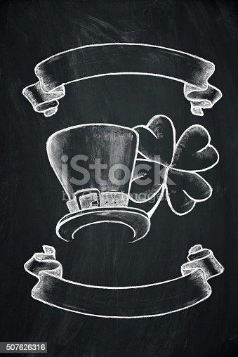 istock St. Patrick's Day symbol on blackboard 507626316