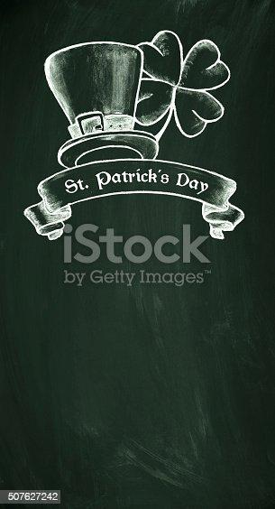 istock St. Patrick's Day symbol on blackboard 507627242