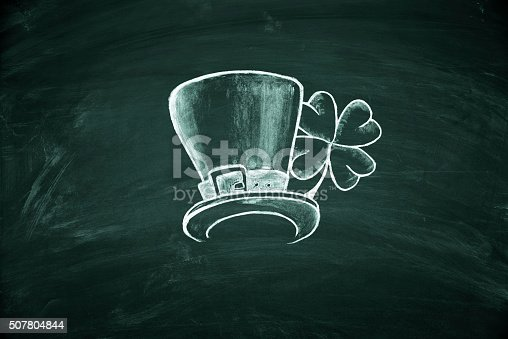 istock St. Patrick's Day symbol on green blackboard 507804844