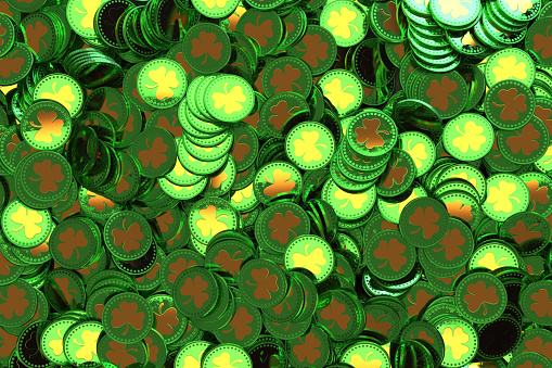 St. Patrick's Day. Treasure, lot of green coins with shamrock symbol.